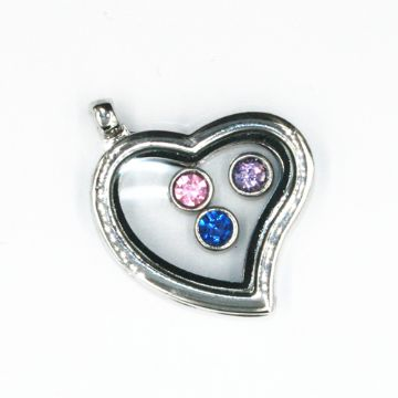 34mm living memory floating charm locket - heart shape - rhodium plated